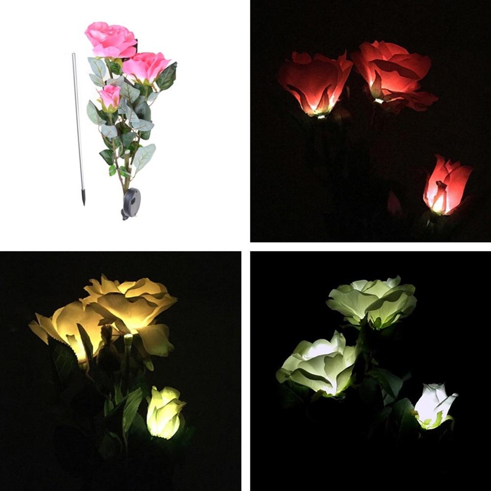 New Outdoor Solar Powered LED Light Rose Flower Lamp for Yard Garden Path Way Landscape Decorative Night Lamp 1pcs