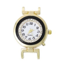 QUARTZ Watches Face Black Circle Light Golden Clear Rhinestone Battery Included New Arrival 1PC(China)