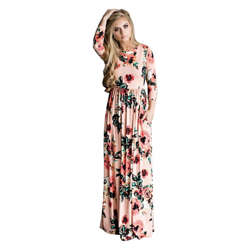 ELSVIOS-2017-Summer-Boho-Beach-Dress-Fashion-Floral-Printed-Women-Long-Dress-Three-Quarter-sleeve-Loose (4)