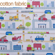 City and car cartoon printed 100% cotton fabric for sewing,soft baby fabric for bedding,sale for meter,100x160cm or50*160cm