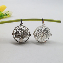 Vintage style silver plated  filigree life of tree wish prayer box ball locket pendant charm DIY supplies findings drop free