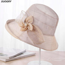 f50468b954b SUOGRY Summer Hats For Women Gradient Color Flowers Sun Hat Visor Cloth  Wide Brim Beach Hat Female Lady Panama Cap Chapeau Femme