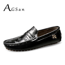 Buy AGSan men italian loafers genuine leather moccasins black white plus size 49 48 47 men driving shoes handmade flats 12 11.5 11 for $32.00 in AliExpress store