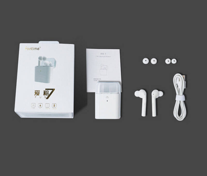 HCQWBING Original TWS MINI Wireless Bluetooth Earphone For iphone earphone 7 Apple earpods Headphone Double Twins I7 Retail Box