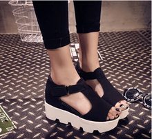 new 2015 summer fashion T-strap fish mouth Women Single Shoes PU Leather Gladiator Sandals Women Platform Wedges Shoes