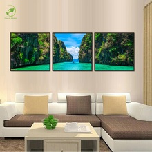 Modern 3pcs Green Peak Lake Prints Canvas Painting Melamine Sponge Board Oil Art Framed Pictures Green Landscape Wall Art Paint(China)