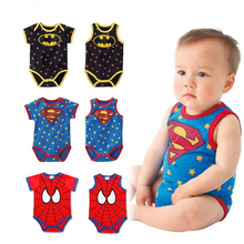 Summer Newborn Baby Boys Girls Clothes Superman Batman Spiderman Rompers Cotton Short Sleeve Vest Suit 0-24M Kids Jumpsuits