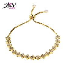 Dreamcarnival1989 New Fashion style Clover Bracelet Rhodium or Gold-color Synthetic Cubic Zirconia Free size Pulsera de mujer(China)