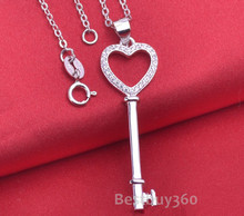Fashion jewelry 925 sterling silver key necklace heart necklace for women cubic zirconia necklace