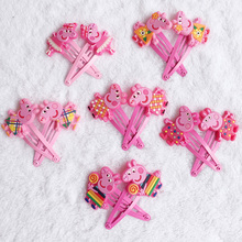 Hot Sale 12pcs Animal Hairpin Cartoon Peppa Pig Hair Clips Cute kids Headwear for Girl Hair Accessories Doll Side Clip Hairgirps