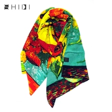 Full Silk Long Scarf Painter Van Gogh Oil Painting Works Sunflower Wraps Shawls Mother's Day Gift Manual Crimping(China)