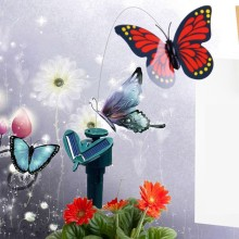 Wholesales Solar Powered Dancing Flying Butterfly Garden Decoration Wall Decoration(China)