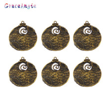 6PCS 48*45mm Antique Style Bronze Ancient Tone Round Shaped Alloy Charm Pendants Crafts Jewelry Accessory Finding Charms (01744)(China)