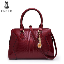 FOXER Brand Article Women Patent Leather Luxury Handbag Shoulder Bag Crossbody Bag All-purpose Purse Large Capacity Tote Bag(China)