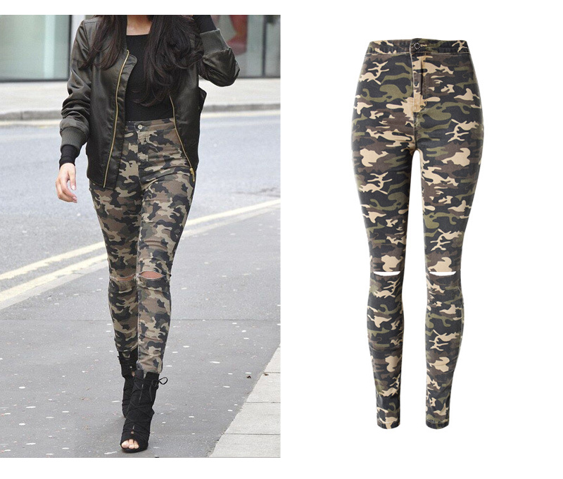 2017 New Brand Women Fitness Cloth Camouflage High Waist Elastic Stretch Holes Jeans Pencil Pants Street Style Denim Trousers (5)