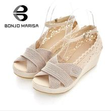 Plus Big size 34-43 Gladiator Ankle Straps Buckle Breathable Lace Uppers Open Toe Platform Summer Shoes Med Heel Wedge Sandals