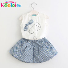 Keelorn 2017 Brand Summer Girls Clothing Sets Fashion Cotton print short sleeve T-shirt and shorts girls clothes sport suits(China)