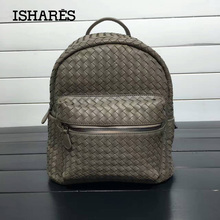 ISHARES New Genuine Sheepskin woven Backpack Women  Fashion lambskin Large Capacity Totes Bag high quality weave Bags  IS168006