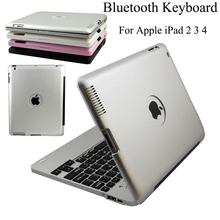 For Apple iPad 2 3 4 Aluminium Bluetooth Keyboard Build-in 4000mah High Quality Folio Smart Magnetic Case Full Body Cover(China)