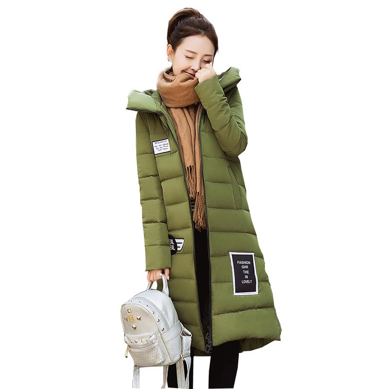 2016 hot winter new cotton jacket coat long loose patch designs down parks with witch hat women hooded plus size coats kl0624Îäåæäà è àêñåññóàðû<br><br>