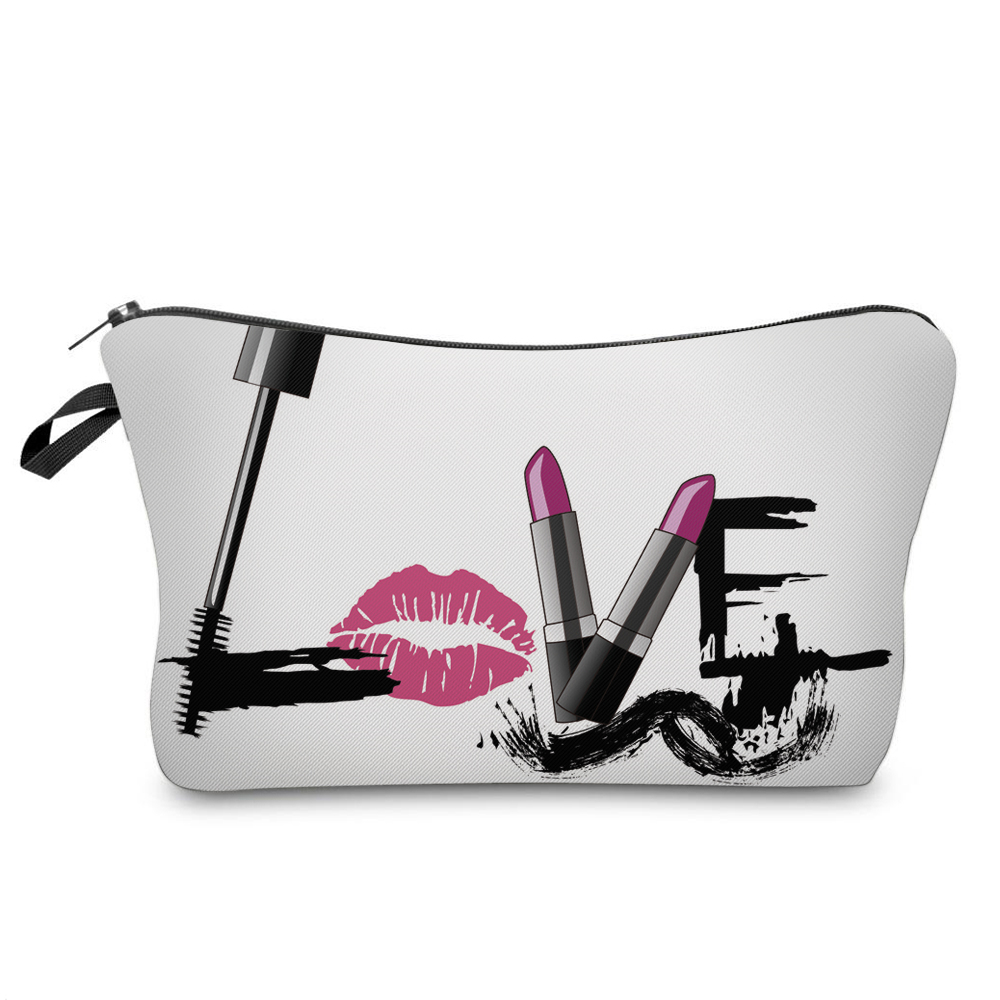"""I Like My Eyelashes"" Printed Makeup Bag Organizer 14"