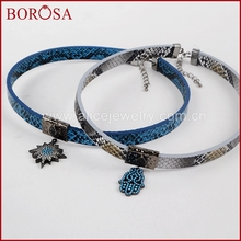 BOROSA New Stylish Necklace, Neck Strap Drusy  Cubic Zirconia Crystal Hamsa Hand/Star Snake Skin Druzy Choker For Women WX325