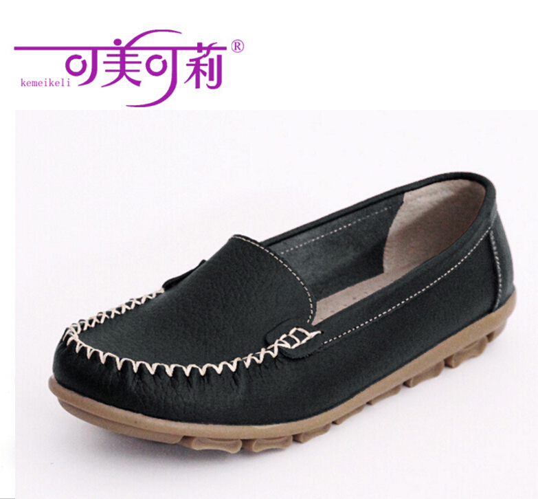 Old Women Shoes Leather Loafers Mother Casual Fashion Slip-on Breathable Comfortable Flat Single shoe Black <br>