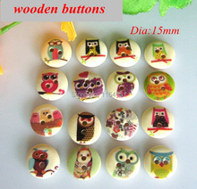 2016 new 150pcs/lot botones mix bulk button sewing accessories 15mm Natural wooden buttons for craft scrapbooking accessories