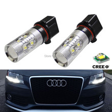 2x No Errors Xenon White 50W P13W C REE LED Bulbs DRL For 2008-12 Audi B8 model A4 or S4 with halogen headlight trims