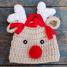 Beanie Christmas Baby Winter Hat Newborn Photography ,Crochet Infant Baby Hat Animal Pattern,#P1005