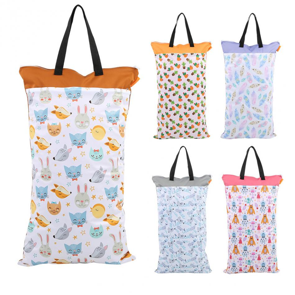 Monkey Double Zipper Baby Cloth Diaper Nappy Wet Dry Bag Swimmer Tote