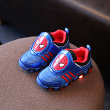 Children Shoes With LED Light Fashion Spiderman Glowing Sneakers Toddlers Girls Boys Led Shoes Kids Sport Shoes Size 26-31(China)