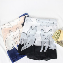 Women Pure Silk CAT Scarf Luxury Brand Female New Printing Cats Silk Scarves Shawl Kitten Cartoon Soft Long style 170x80cm(China)