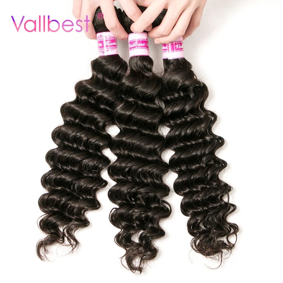 Vallbest Hair Peruvian Deep Wave 100% Human Hair Bundles Weave Peruvian Hair Weaving Non-Remy Hair Natural Black 1B Color