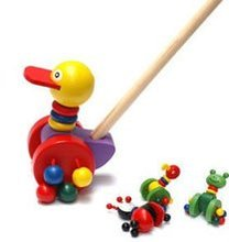 50cm length colorful animals patten  wooden push cart baby toys