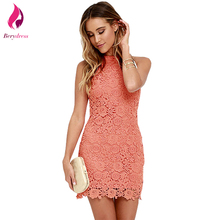 Berydress Club Wear Yellow Lace Dress Halter Coral Cocktail Vestidos De Festa Sexy Sheath White Summer Dresses 2017 Sleeveless