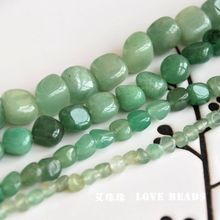 "wholesale 14.5""/38cm natural green aventurine quartz loose beads diy necklace bracelet necklace making jewelry craft finding"