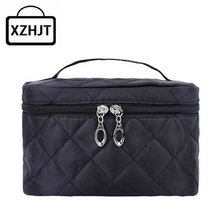 Women Travel Cosmetic Bag Functional Diamond Lattice Makeup Case Zipper Make Up Bags Organizer Storage Pouch Toiletry Kit Bags