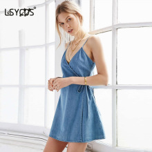 LSYCDS Sexy V Neck Mini Denim Cotton Sashes Wrap Spaghetti Strap A Line Sleeveless Casual Club Beach Summer Women's Dresses