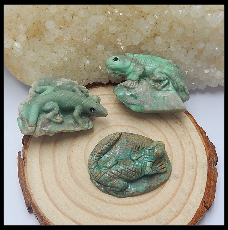 Wholesales 3Pcs Natural Stone Turquoise Handmade Lizard Gemstone Fashion Cabochon Setting 18.32g
