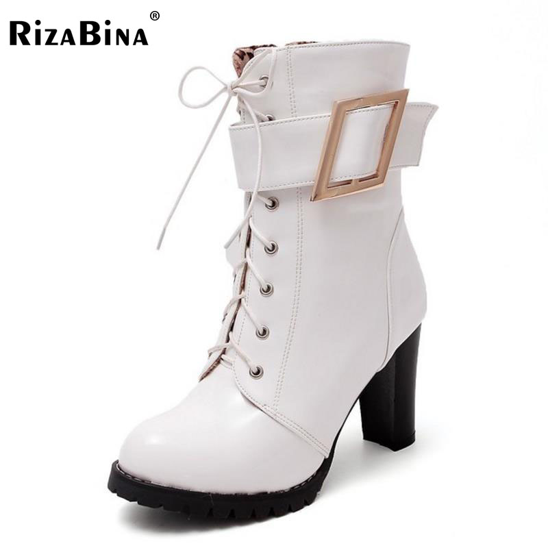 RizaBina Women Thick Heels High Heel Platform Buckle Lace-up Winter Boots Woman Round Toe Fashion Women Shoes Footwear Size33-43