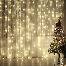 New Year 4.5m x 3m 300leds Fairy Garland LED Curtain Icicle String Light Outdoor Indoor Waterproof For Christmas Home Decoration(China)