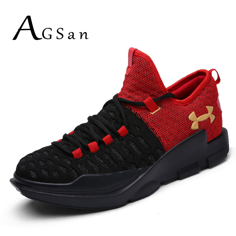 AGSan men luxury brand casual shoes 2017 new basket trainers grey black red breathable walking shoes lace up fly woven footwear<br><br>Aliexpress