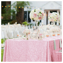 Nice 50x72in Pink Sequin Tablecloth 125x180cm Pink Table Cloth/Overlay for Wedding Party Decoration
