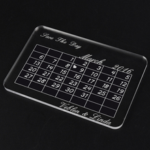 10x15cm Personalized Engraved Calendar Clear / Transparent The Day We Said I do Wedding Party Mother's Day Present Gifts Favors