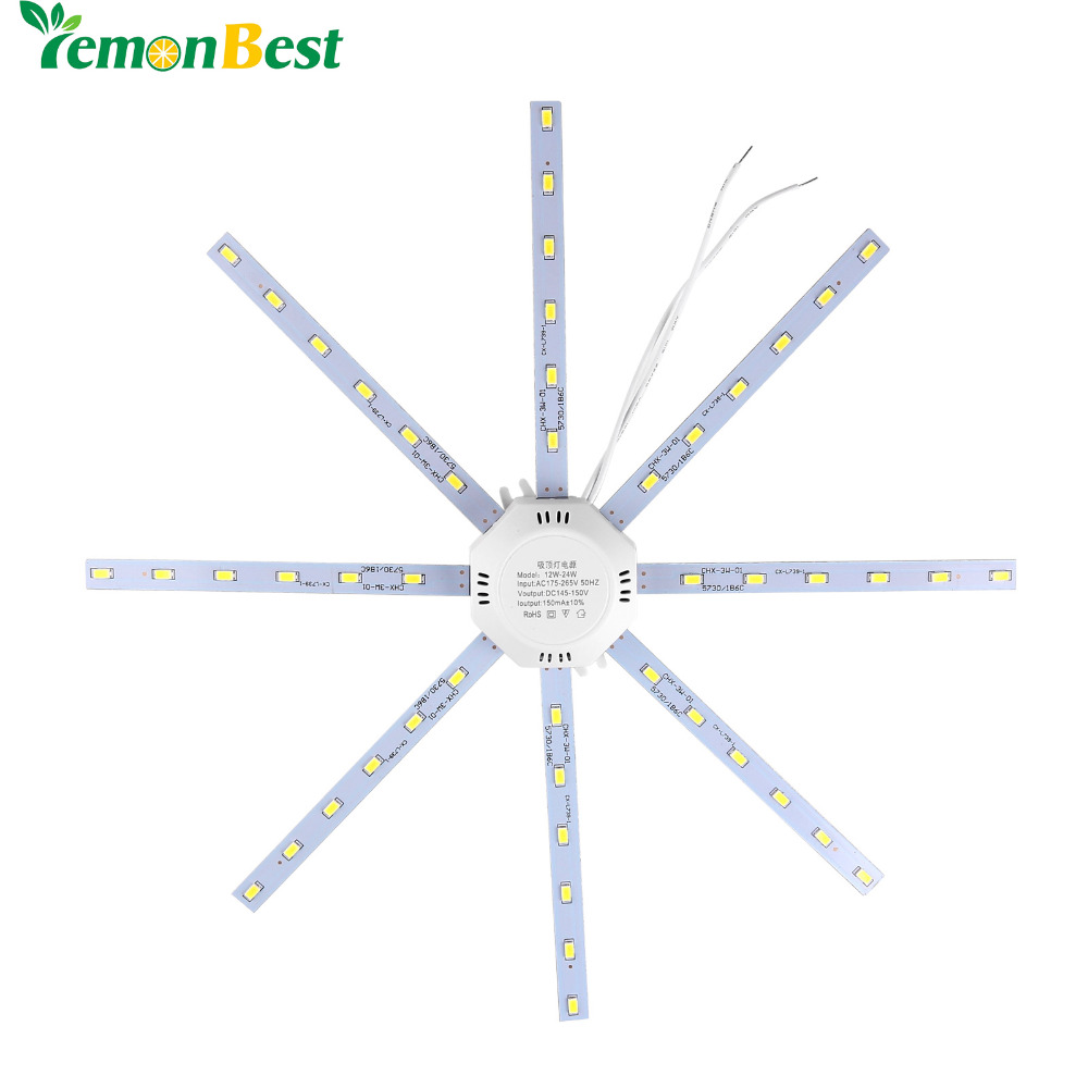 12W 16W 20W 24W LED Ceiling Lamp Modified Light Source Lamp Plate Octopus 5730SMD Cool /Warm White for Round Kitchen Bedroom(China)