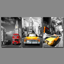 Street View yellow red Bus Taxi picture decoration Big ben canvas painting wall art pictures for living room home decor unframed
