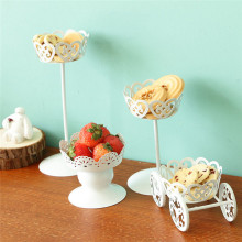 New White Color Cake Stand Ice Cream Pastry Baking Metal Wheel Cupcake Stand Cake Display Wedding Birthday Party Decor