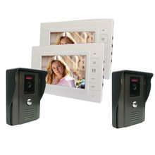 "Free shipping 7""TFT LCD free disturb handsfree color Home Security Video Door Phone Intercom Doorbell System Kit with 2 cameras(China)"