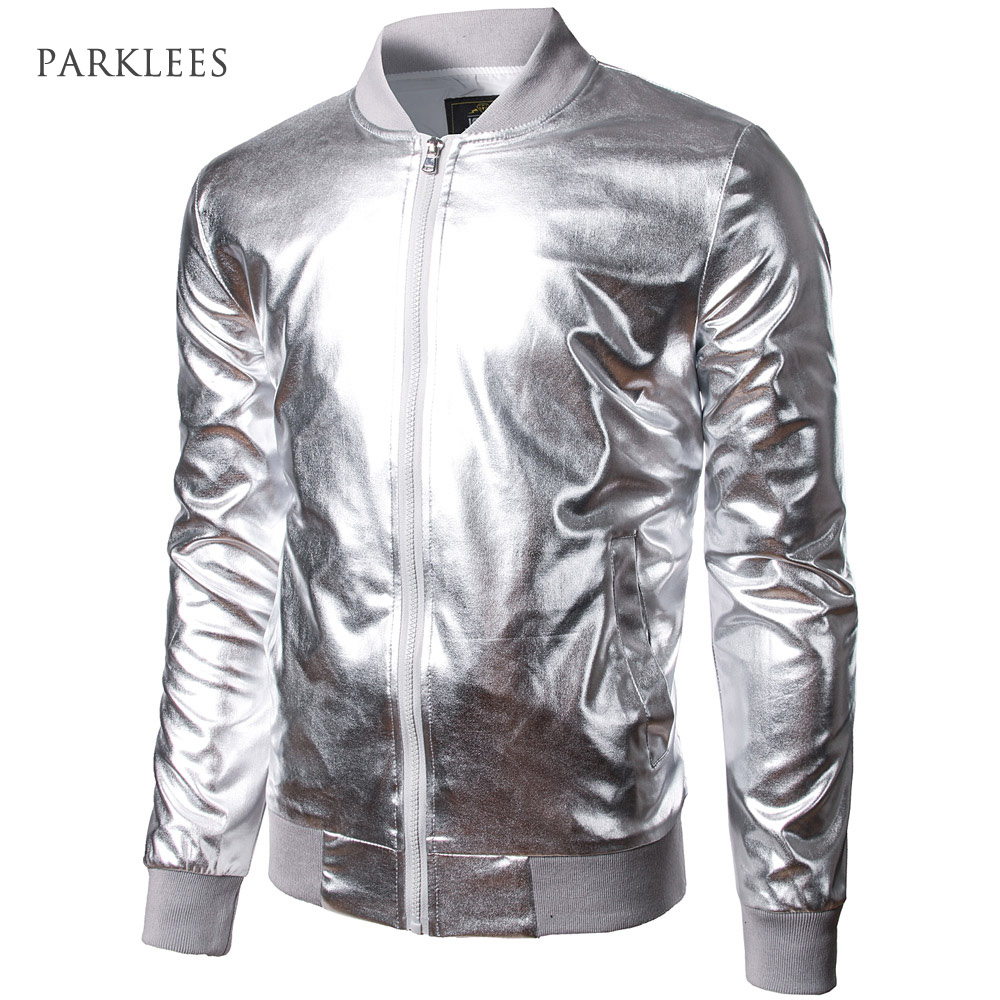 Baseball Jacket Men/Boy Shiny Silver Stand Collar Bomber Jackets Casual Slim Fit Lightweight Metallic Varsity Mens Jackets XXL